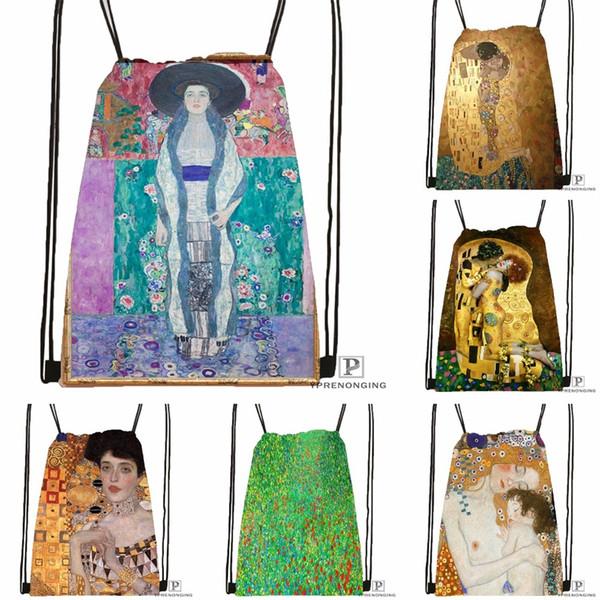 Custom Gustav Klimt #9 softDrawstring Backpack Bag Cute Daypack Kids Satchel (Black Back) 31x40cm#180531-02-22 #33941