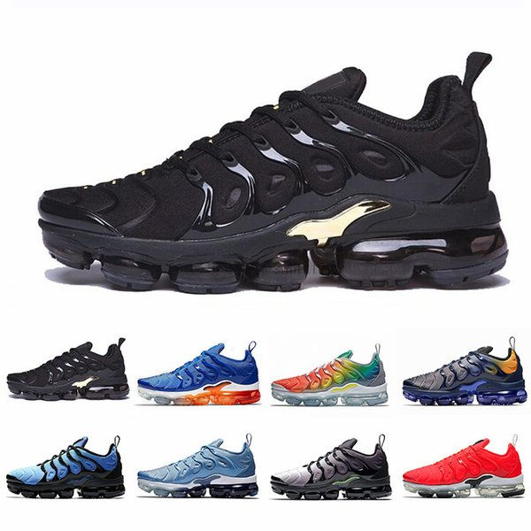 New Black Gold Cushion TN Plus Running Shoes Women Men Game Royal HYPER VIOLET RED SHARK TOOTH Outdoor Sports Sneakers 36-45