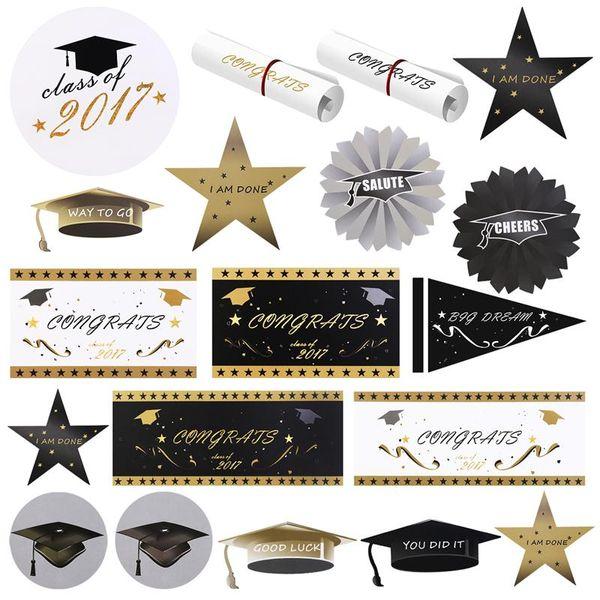 40pcs 2017 Graduation Party Paper Recorte Decoração graduação temporada cap