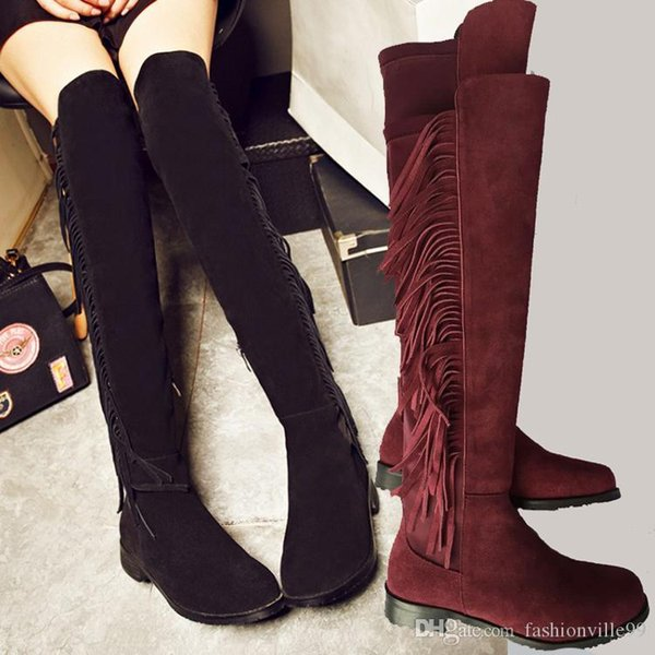 hot! u463 34/40 genuine leather thigh high tassel flat boots black brown tan maroon grey over the knees
