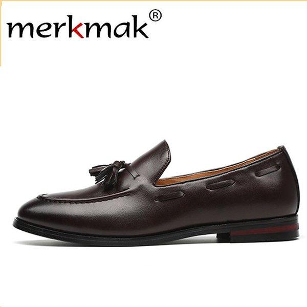 Merkmak New Men Mocassini con nappine Pu Scarpe formali in pelle Elegante scarpa elegante Semplice slip on uomo Calzature casual Misura grande 48 47 46 MX190730