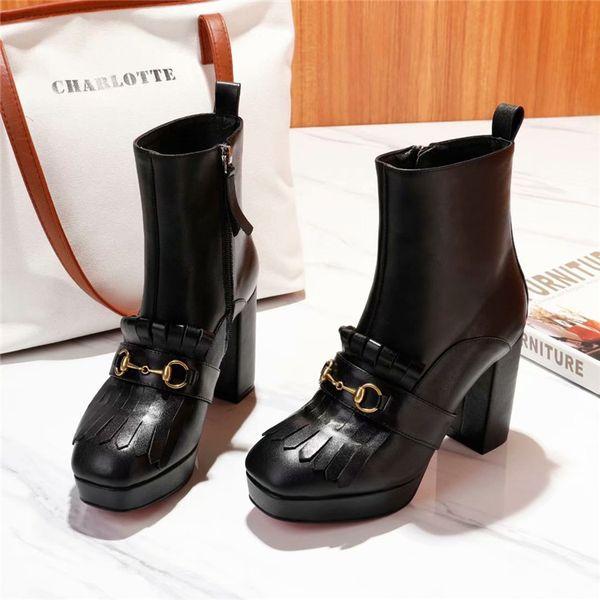 Mode Klassische Sexy Frauen Schuhe Dicke Hohe Ferse G BRIEF Ritter Stiefeletten Herbst Winter Damen Schuhe