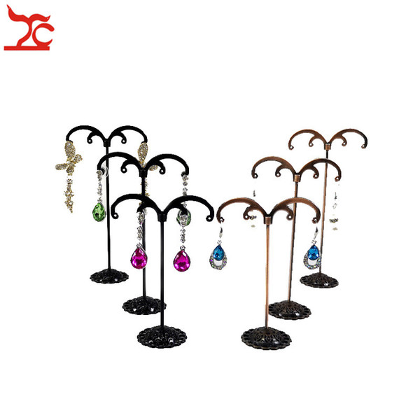 New Fashion 3Pcs/Set Metal Jewelry Organizer Holder Rack Black Antique M-Shape Earring Stud Bracelet Organizer Ornament Hanger Stand Holder