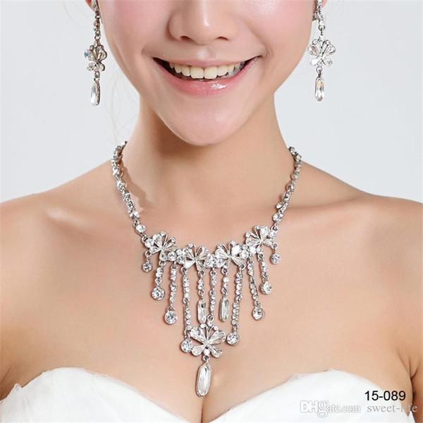Venda quente holy strass cristal flor brinco conjunto de colar nupcial do partido lagosta 15089 fecho conjuntos de jóias barato para o baile à noite as mulheres