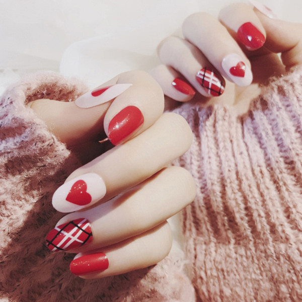 24pcs/set Artificial False Nails Tips Beauty Chic Faux Ongles High Quality Full Nail Tips For Girls Cute Fingernail Z8