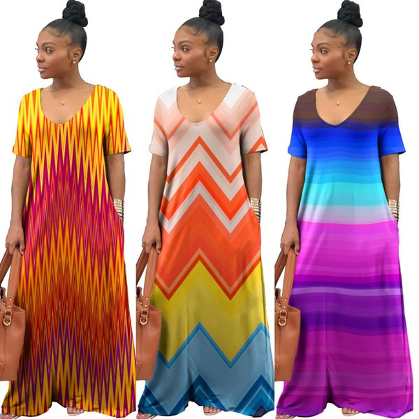 Women sexy deep dresses tie dye contrast color short sleeve casual maxi dresses summer clothing loose dresses summer clothes plus size 83
