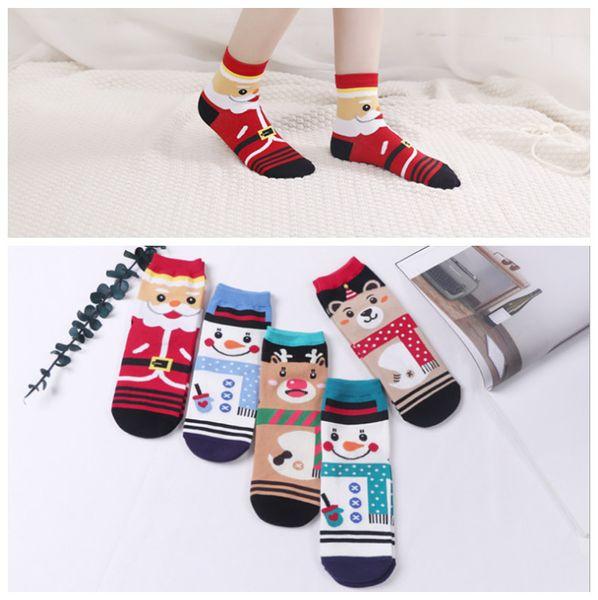 Noel Karikatür Çorap Çocuklar için Yetişkin Pamuklu Örme Kalın Yumuşak Ayak bileği Çorap Karikatür Ren Geyiği Ayı Kardan Adam Çorap