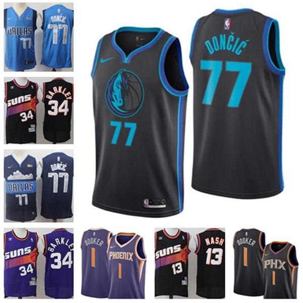 best website 5b603 496f2 2019 2019 Men Phoenix New Suns Steve 13 Nash Jerseys Charles 34 Barkley  Devin 1 Booker Dallas Luka 77 Doncic Mens Mavericks Jersey From Zmh1179, ...