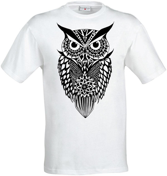 Black Majestic Night Owl Graphic Artwork Men T Shirt White O-Neck Fashion Casual High Quality Print T-Shirt Top Tee