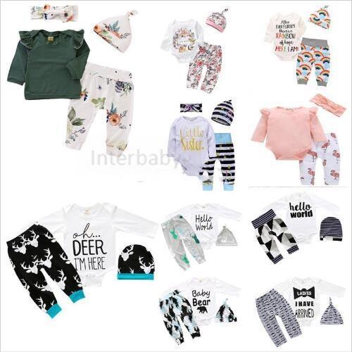 Kinderkleidung Mädchen Designer Boutique Anzüge Baby Weihnachten Hohl Outfits Mode Strampler Hosen Hüte Stirnband Kleidung Sets 56 Stil A5216