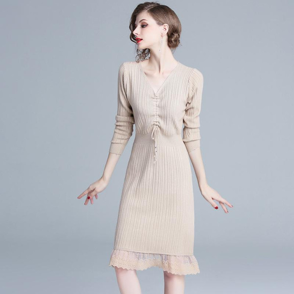 Women Bandaged Dresses Banquet Evening Vestiso V Neck Long Sleeve Bodycon Knitting Dress Patchwork Lace