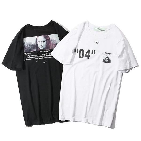 Nuovo design classico OFW doppia linea 04 rendering T-shirt di alta qualità moda casual tendenza marchio di lusso hip-hop street coppia manica corta