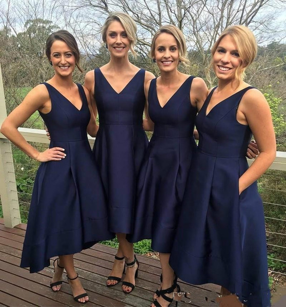 Navy Blue 2019 Bridesmaid Dresses with Pocket Satin High Low V-Neck Simple Maid Of Honor Dress Evening Party Gowns Formal Prom Dress