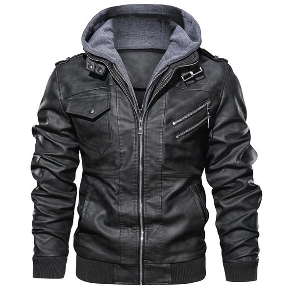 JAYCOSIN Männer Mäntel Jahrgang ReißverschlussHoodie Ledermantel Man feste Jacken beiläufige Mantel männliche Art und Weise Jackentaschen Männer Standard-