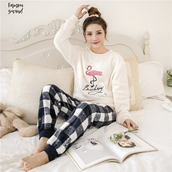 Pajamas Women Set Pajama Female Print Thick Flannel Sexy Rose Winter Warm Winter Women Pajama Set Long Sleeve Full Trouse