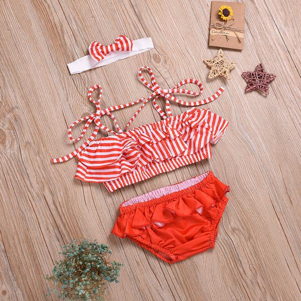 new fashion Kids Baby Girls Swimsuit Bikini Swimwear Bathing Suit red Striped Summer Cute Two-pieces Set Beachwear outfit