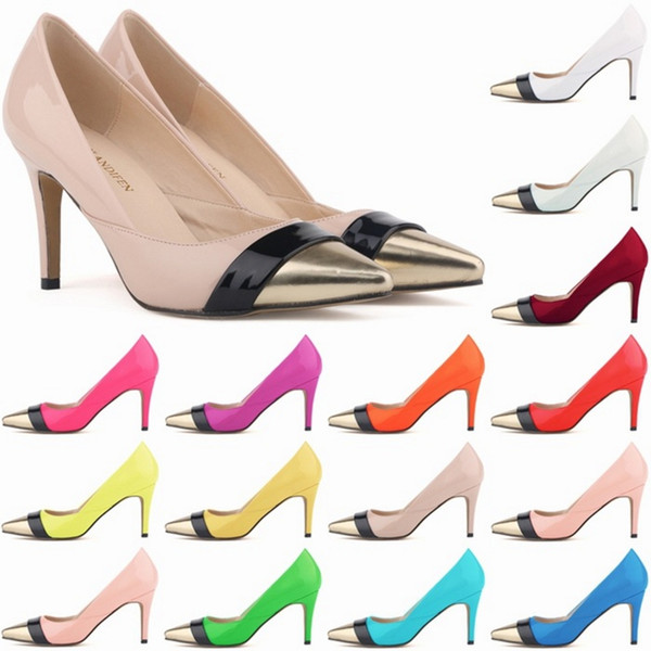 Sapatos Feminino Womens Pointed Toe Patent Pu Leather Heels Corset Style Work Pumps Court Shoes Party Dress shoes US 4-11 B0053