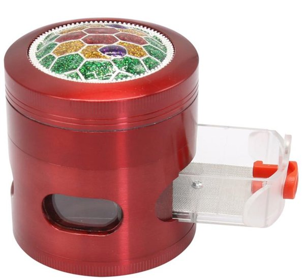 New Type Zinc Alloy 4-Layer Smoke Grinder with Drawer 63mm Manual Convex Cover Metal Smoke Grinder