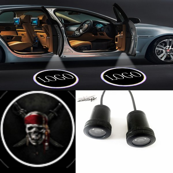 Maxup 1piar Devil skull pattern logo general Car door Welcome light Ghost reflector lamp Projector Laser LED wire packing drill