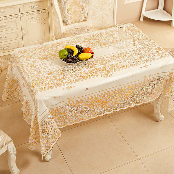 152*228CM PVC Hot Stamping Tablecloth 4 Colors Waterproof Table Cloth Floral Table Cover Table Overlays For Counter Tea 1 Piece DHL