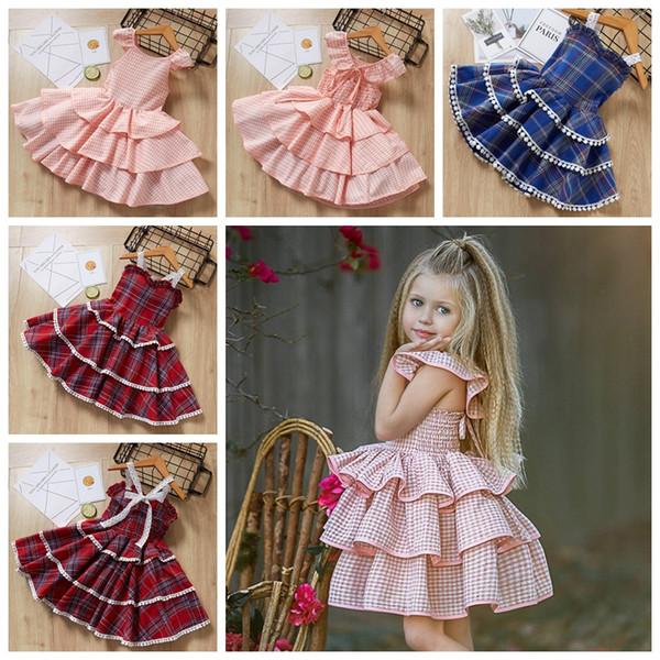 Girls Princess Dress 2019 Summer Style Baby Plaid Pattern Toddler Dresses Design For Sleeveless Children Party Dress
