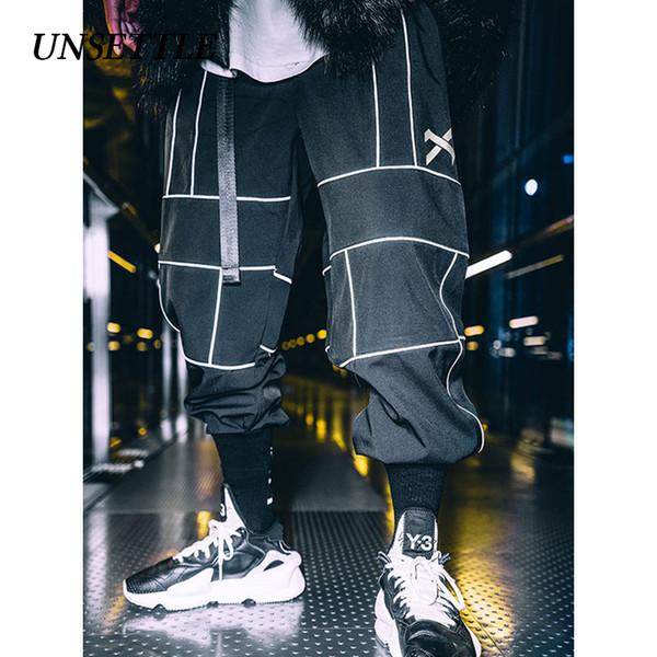 UNSETTLE Harajuku Pant Basculadores Hip Hop Reflexivo calças japonesas Streetwear Calças Finas de Moletom