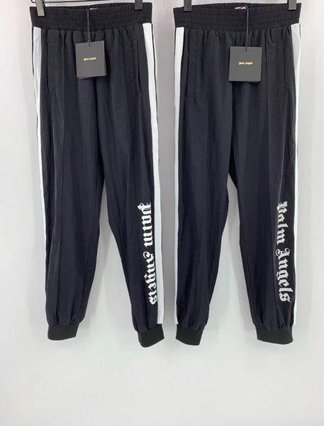 top popular 2019SS Palm Angels Pants Women Men High Quality Joggers Hip Hop Streetwear Sweat Pants Fashion Purple Black Sweatpants Trousers FREE SHIP 2019