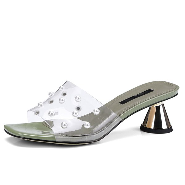 Transparent Women Slippers 5 CM High Heels Open-toe Pearls Woman Mules Summer Style Slides Party Pumps Box packing A-702