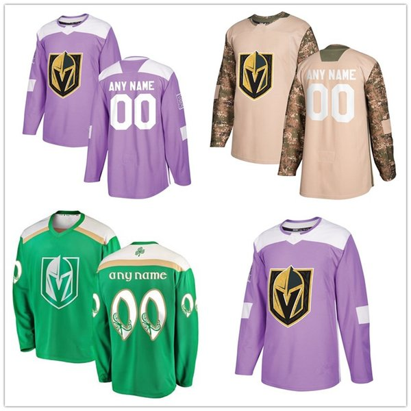 best service 95563 32920 2019 Men'S Vegas Golden Knights 2018 Hockey Fights Cancer Custom Practice  Jersey Camo Veterans 2019 St. Patrick'S Day Replica Stitched Logos From ...