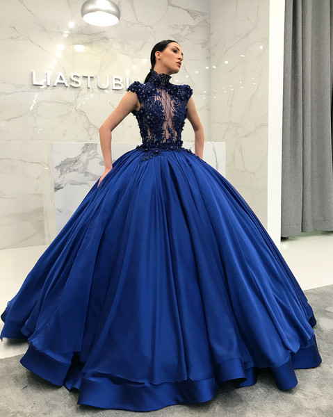 Royal Blue Beaded Lace 2019 Vintage Evening Dresses Cap Sleeves High Neck Satin Prom Dresses Sexy Pageant Formal Party Gowns