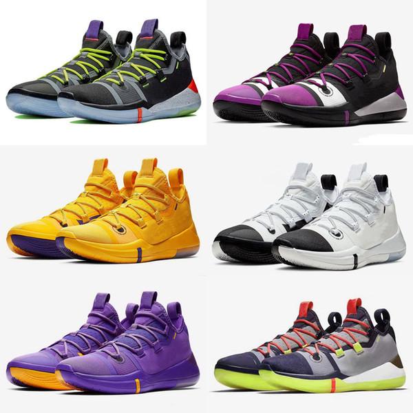 Sıcak Satış Kobe Için AD Lakers Mor Altın Ayakkabı Ücretsiz Kargo 2019 Online Spor Basketbol Ayakkabıları mağaza US7-US12