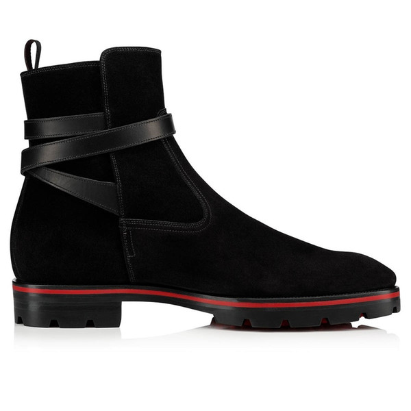 2019 Tire Rubber Sole Super Quality Ankle Boots Red Bottom Kicko Genuine Leather Black Suede Boot,Men's Mid Boots Elegant Men Ankle Boot