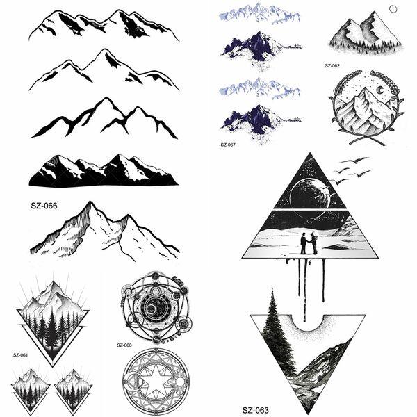Acheter YURAN Noir Iceberg Tatouage Temporaire Autocollants Montagne Bras  Art Hommes Faux Tatouages Triangle Femmes Rivières Terre Transfert De