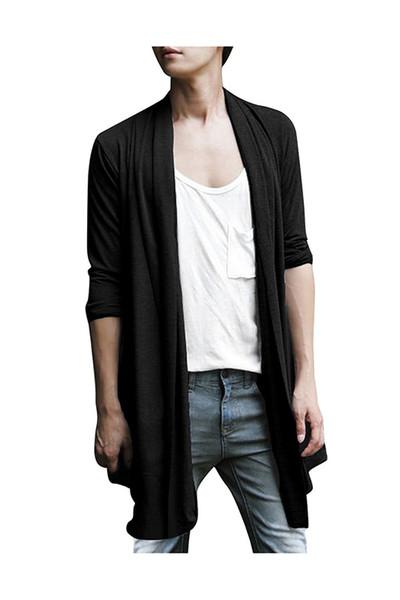 Erkekler Şal Yaka Yüksek Düşük Hem Uzun Hırka Siyah XXL