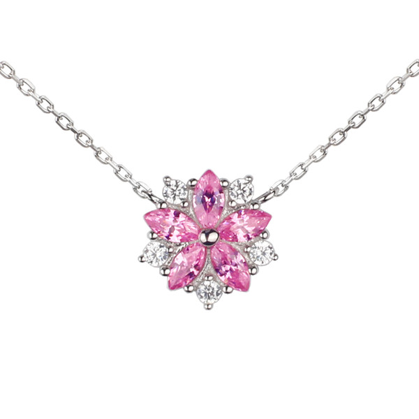 925 Sterling Silver Pendant Necklace Women Cute Sakura Flower Pink Cubic Zirconia CZ 40+5cm Cable Link Chain Birthday NC8001B
