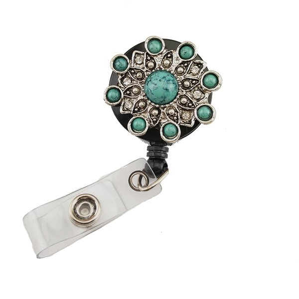 20pcs/lot New Style Retro Blue Acrylic Stone Metal Flower Rhinestone Retractable Badge Reels ID Card Holder