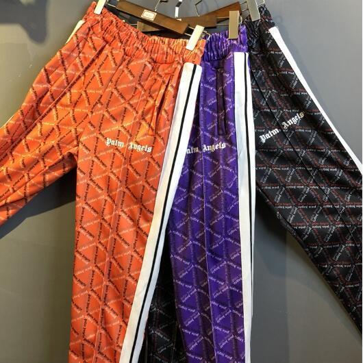 Mens Designer Pants Palm Angels Sweatpants Men Women Hip Hop Striped Palm Angels Sweatpants Joggers Purple Orange Black