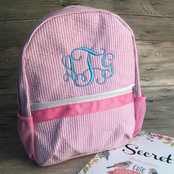 Персонализировать Дети малышей Школа рюкзаки Soft Seersucker Материал книги Сумки в Navy Pink (Может быть