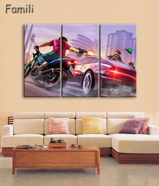 Compre 3 Unids Nuevo Producto Hd Gta 5 Wallpaper Hd Pintura Decorativa Casera Pintura Caligrafía Arte Moderno Barato Grand Theft Aut A 938 Del