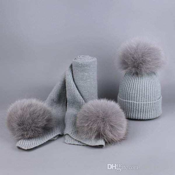 Winter Real Fox Ball Hat Children Pom Pom Ball Hats Warm Comfortable Boys Girls Baby Hats Scarves Set Hot Sale