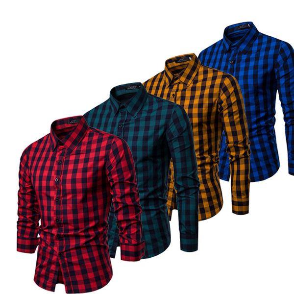 2019 New Style Fashion Hot  Men Slim Fit Dress Shirts Long Sleeve Stylish Formal Casual Plaid Top