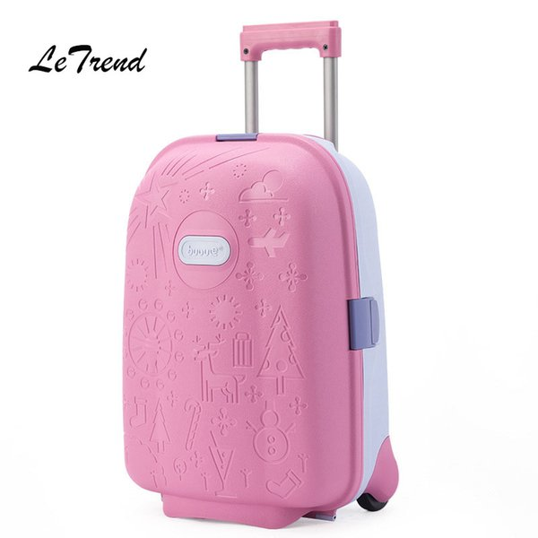 Letrend Kids Cute Cartoon Rolling Luggage Spinner Children Wheel Suitcases Trolley Travel Bag Student Cabin School Bag Trunk