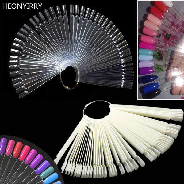 50PCS Transparent/Natural Fan Board Display Nail Art Tips False Round Hoop Stick Practice for Polish Gel Nail Art Showing Tools