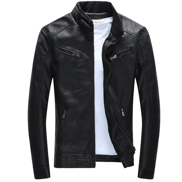M-3XL Plus Fleece Men Leather Jacket Motorcycle Leather Jacket Male Fashion Casual Stand Collar Solid Slim Mens