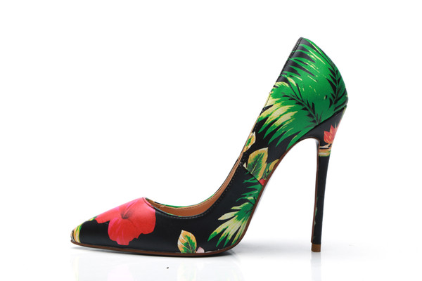 Spring Woman Pointed Toe Fashion Flower High Heel Femal Plant Flower Stiletto Heel Sexy Single Shoes Woman Soft Leather Graffiti Party Shoes