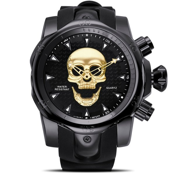 Steampunk Big Dial Skull Watch Men 3D Rotating Sport Silicone Strap Gold Black for Man Fashion Clock Gift relogio masculino
