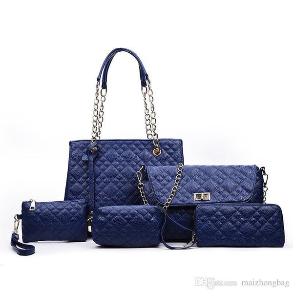 Nice New Fashion 6pcs Set Women Designer Handbags Pop Tied Hand Bags Diamond Lattice Compasite Bag