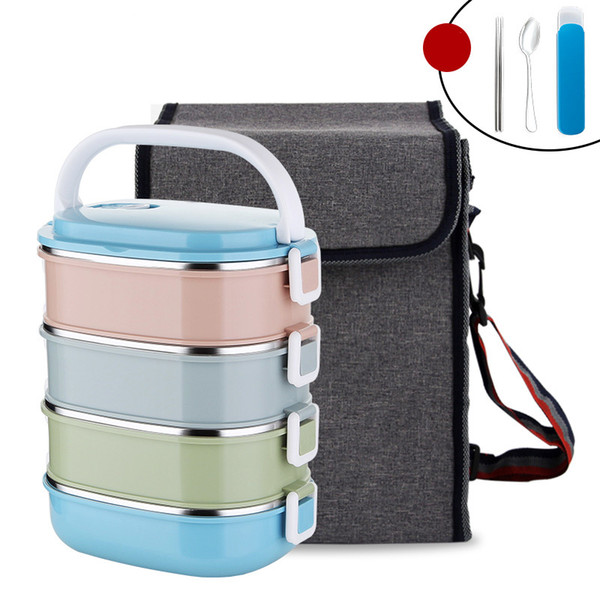 Japanese Food Container Square Plastic With Bag Dinnerware Set 304 Stainless Steel Thermal Bento Lunch Box Portable School Kids C18112301