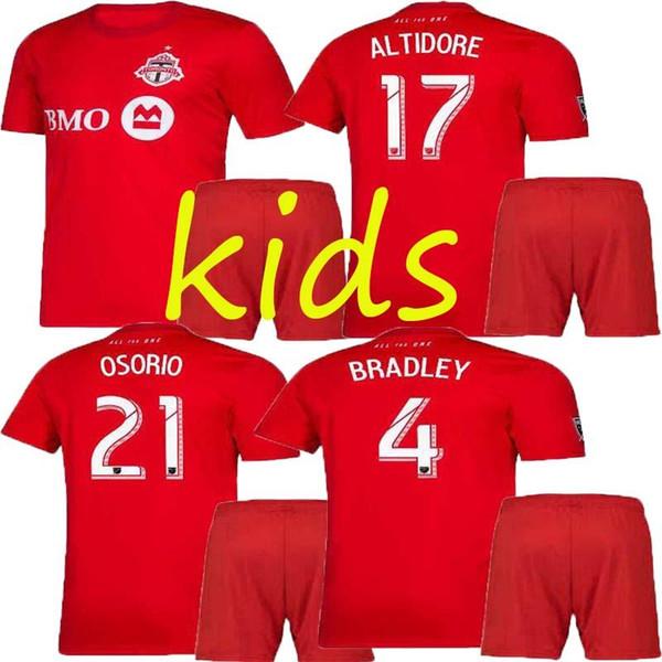 kit infantil 2019 2020 Camisetas de fútbol de Toronto FC BRADLEY GIOVINCO ALTIDORE OSORIO 19 20 Toronto niños Inicio Rojo Camiseta de fútbol personalizada uniforme