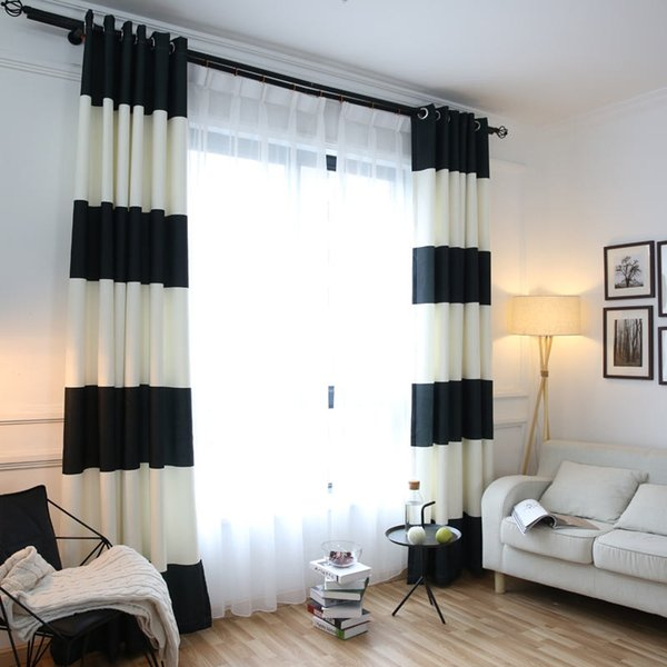 2019 Black White Splicing Striped Blackout Curtains For The Bedroom Cotton  Linen Modern Curtains For Living Room Window From Newcute, $58.81 | ...